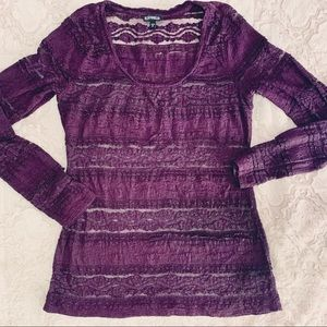 Express Lace Long Sleeve Tee   Plum/Purple…
